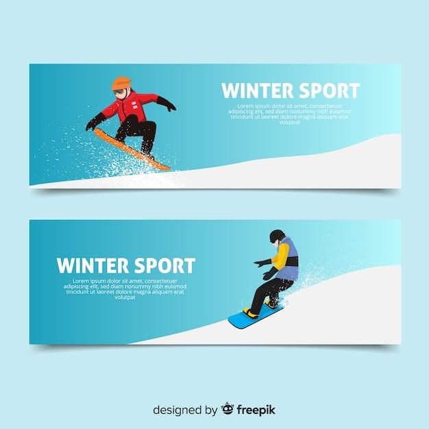 Carteles de deportes de invierno vector gratuito