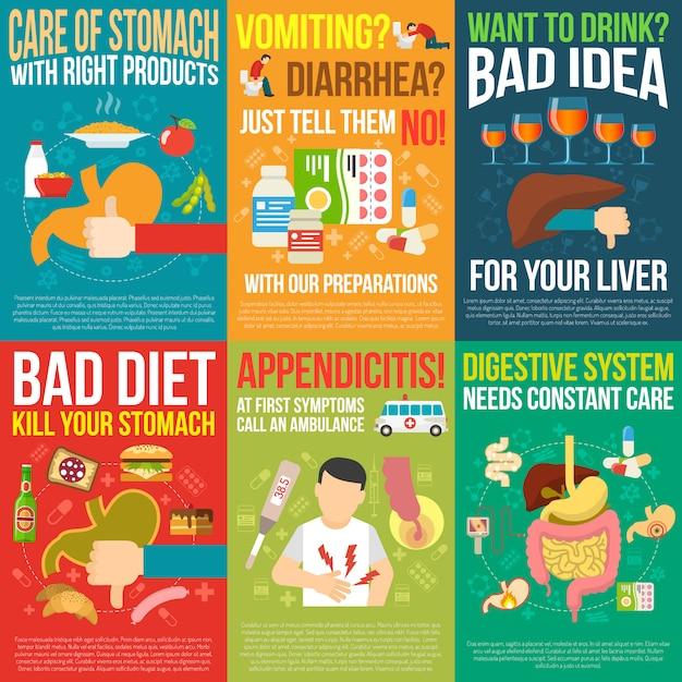 Carteles de digestión vector gratuito