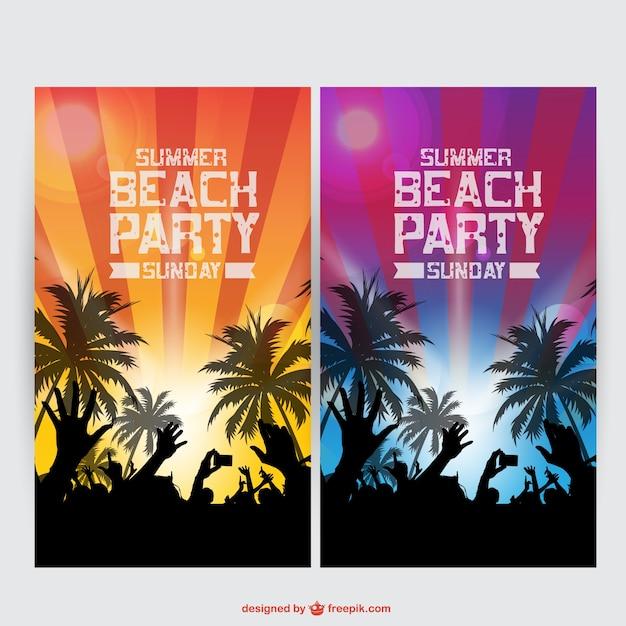 47d51116cc5b Carteles de fiesta de verano en la playa   Descargar Vectores gratis
