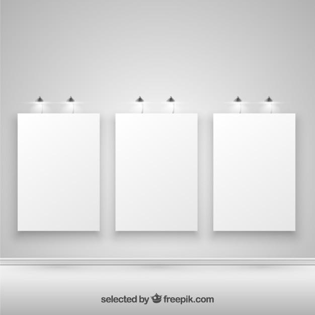Carteles iluminados en blanco vector gratuito