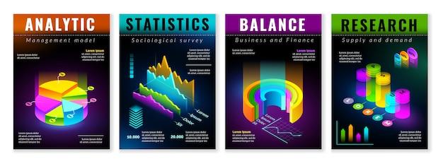 Carteles de infografía isométrica conjunto de cuatro carteles verticales con elementos isométricos aislados para la construcción de infografías. tablas de presentación y gráficos sobre fondo negro en colores fluorescentes. Vector Premium