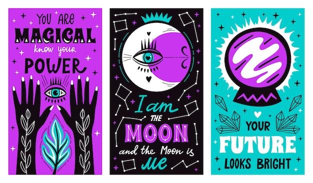 Carteles de letras de bruja mística mágica con brazos dibujados a mano de brujería, luna, estrellas y símbolo futuro. Vector Premium