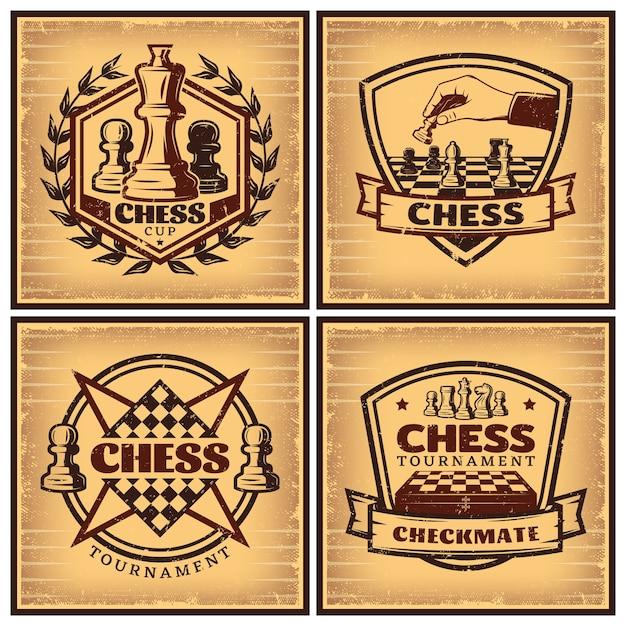 Carteles de torneos de ajedrez vintage vector gratuito
