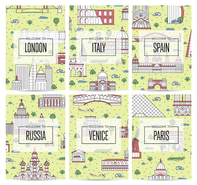 Carteles de viaje en todo el mundo en estilo lineal Vector Premium