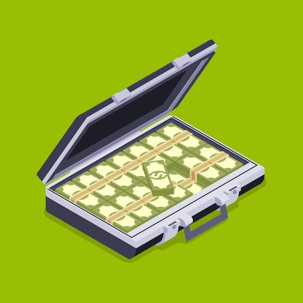 Cartera isométrica abierta con el dinero. Vector Premium