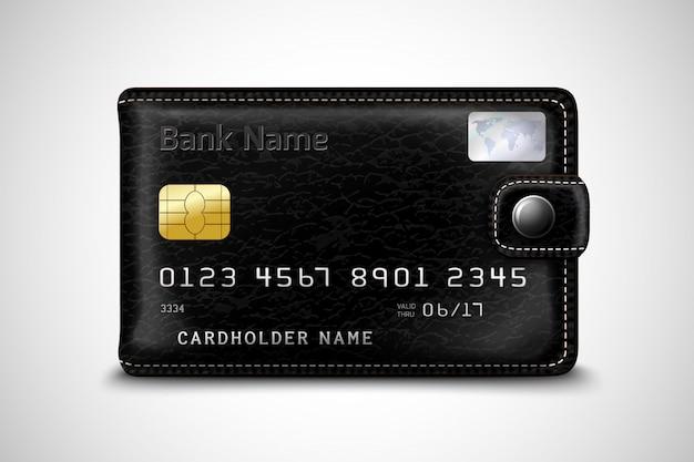 Cartera negra concepto de tarjeta de crédito bancaria vector gratuito