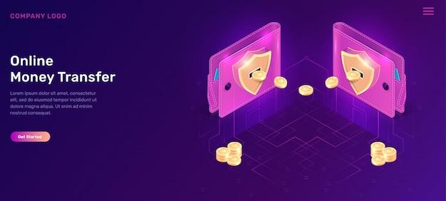Carteras isométricas de transferencia de dinero en línea con monedas vector gratuito