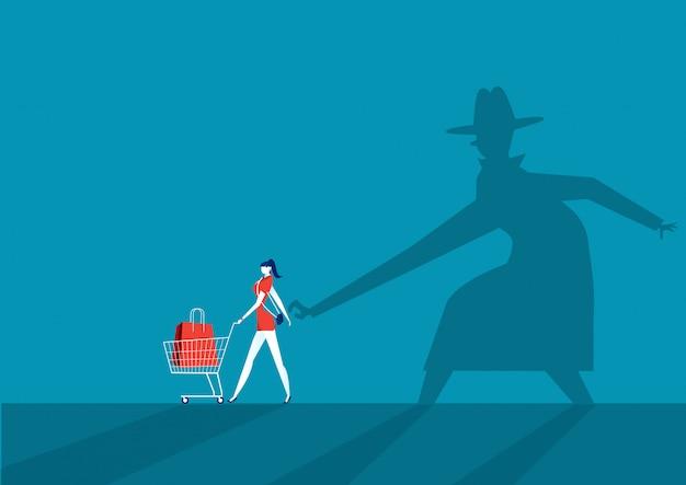 El carterista shadow man roba la billetera del bolso Vector Premium