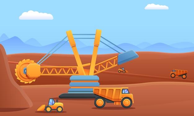 Cartoon minería excavadora volquete y excavadora trabajando en una cantera, ilustración vectorial Vector Premium