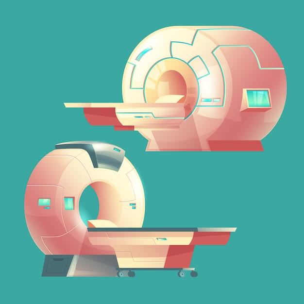 Cartoon mri escáner para tomografía, examen médico. vector gratuito