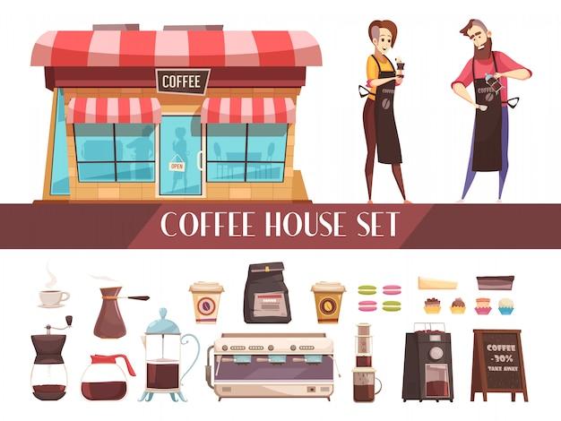 Casa de café dos pancartas horizontales vector gratuito