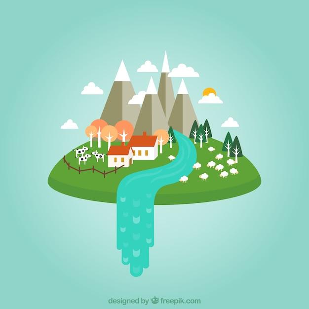 Casa de campo en las nubes vector gratuito