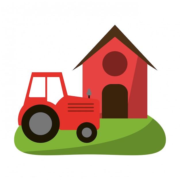 Casa de campo y tractor Vector Premium