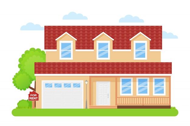 Casa con cartel en venta, Vector Premium