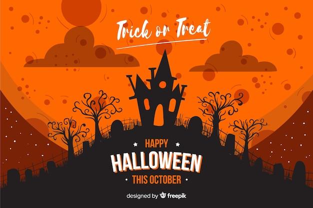 Casa en una colina en fondo plano de halloween vector gratuito