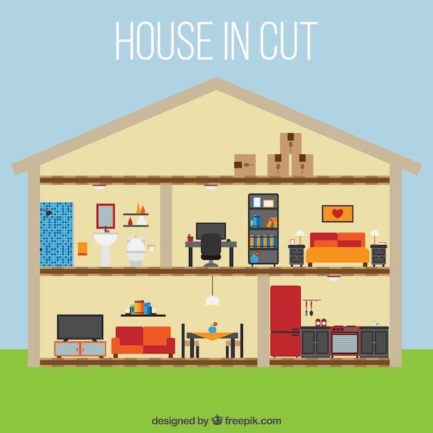 Casa con bonitas habitaciones en dise o plano descargar for Programa diseno habitaciones gratis