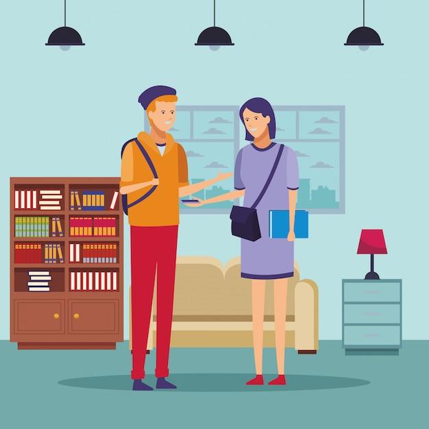 Casa de conversación de pareja de equipo de estudiante Vector Premium