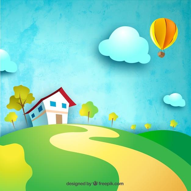 Casa de campo en la colina descargar vectores gratis for Casa con un camino