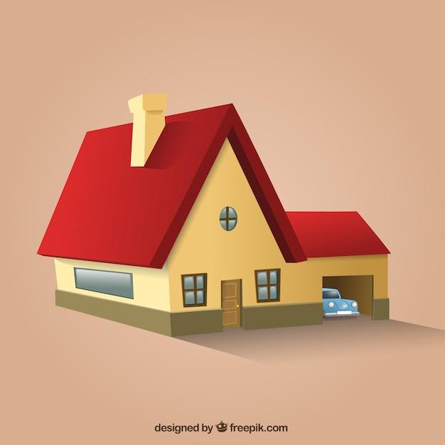 Casa de techo rojo en perspectiva descargar vectores gratis for Formas de techos para casas