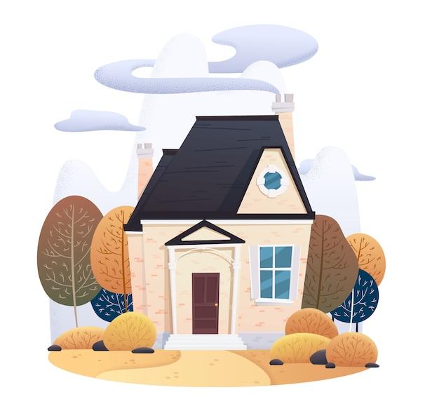 Casa de dos pisos de otoño con hojas caídas y decorada Vector Premium