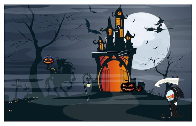 Casa embrujada, jinete sin cabeza, calabazas en la noche de luna vector gratuito