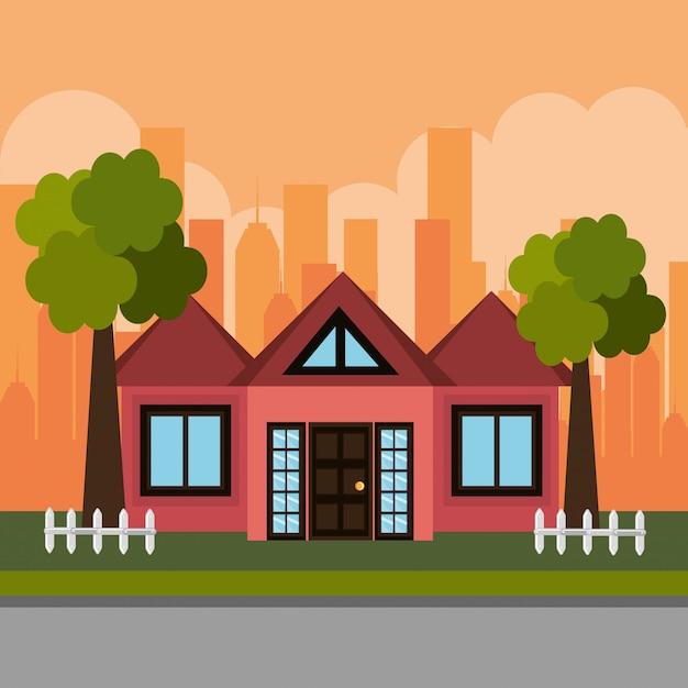 Casa en la escena del barrio vector gratuito