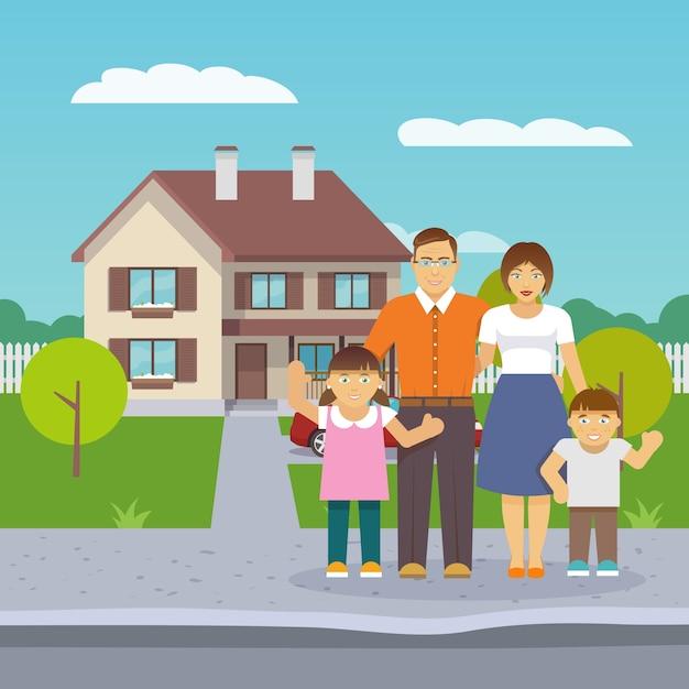Casa Familiar Plana Descargar Vectores Gratis