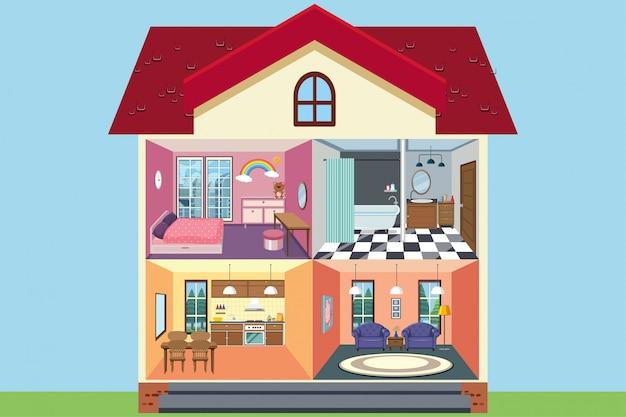 Casa con habitaciones totalmente amuebladas. Vector Premium
