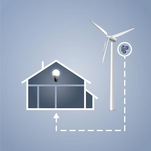 Casa de infografías vectoriales con turbina eólica para generación de energía eléctrica vector gratuito