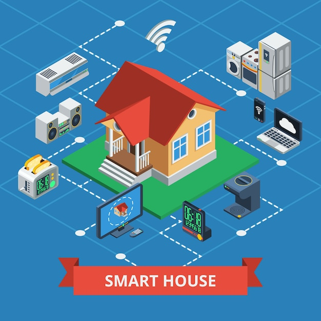 Casa inteligente isométrica vector gratuito