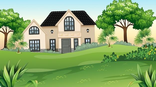 Casa y jardín en plena naturaleza. vector gratuito