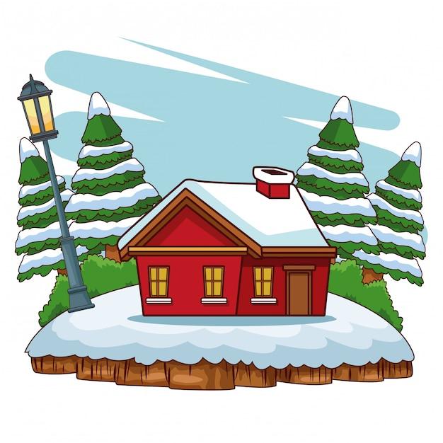 Casa De Madera En Dibujos Animados De Paisaje De Invierno