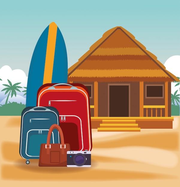 Casa De Madera En Dibujos Animados De Playa Descargar Vectores Premium