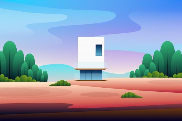 Casa moderna del paisaje en la ilustración del bosque Vector Premium