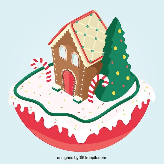 Casa navide a de jengibre descargar vectores gratis for Casa jengibre