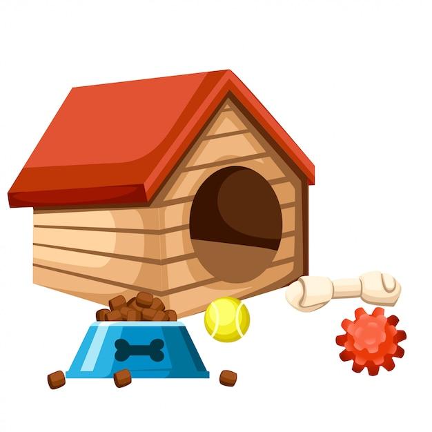 Casa de perro y cuenco con comida. jugando pelotas y huesos. ilustración sobre fondo blanco. página del sitio web y aplicación móvil Vector Premium