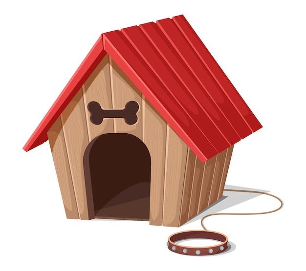 Casa de perro de estilo de dibujos animados con cuerda y collar rojo. aislado sobre fondo blanco. Vector Premium