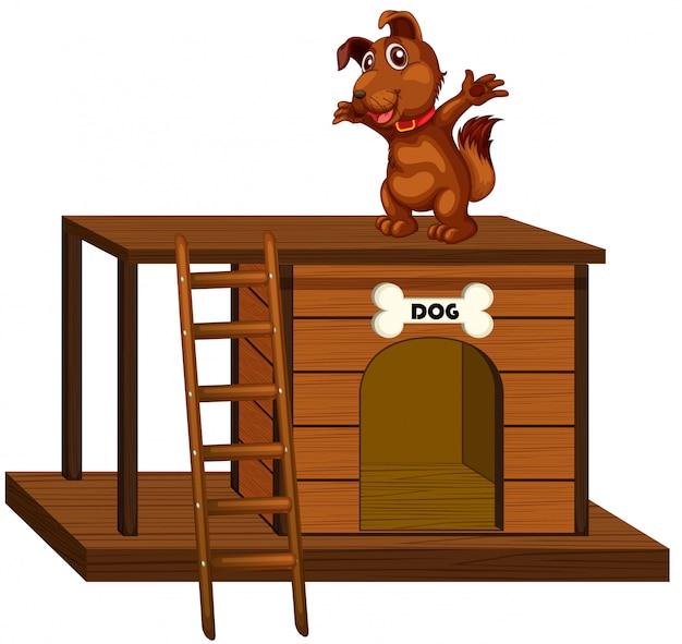 Casa de perro con lindo perro de pie aislado vector gratuito