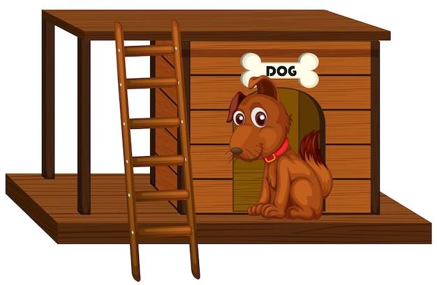 Casa de perro con lindo perro sentado aislado vector gratuito