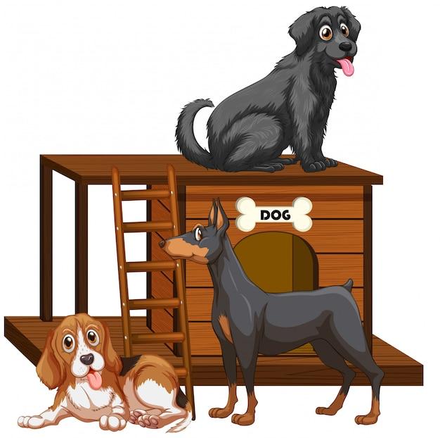 Casa de perro con lindos perros vector gratuito