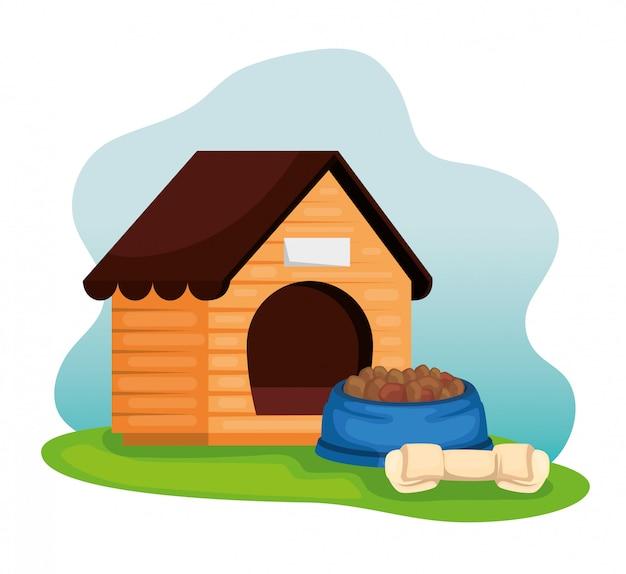 Casa de perro de madera con plato de comida y hueso Vector Premium