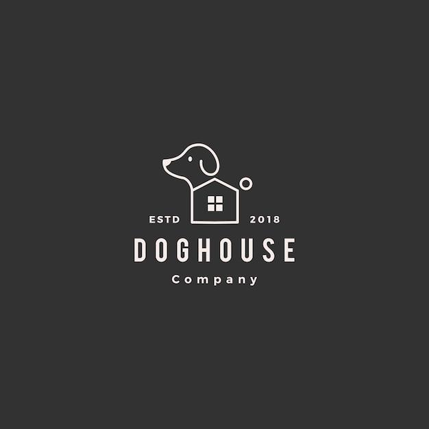 Casa de perro mascota casa logo Vector Premium