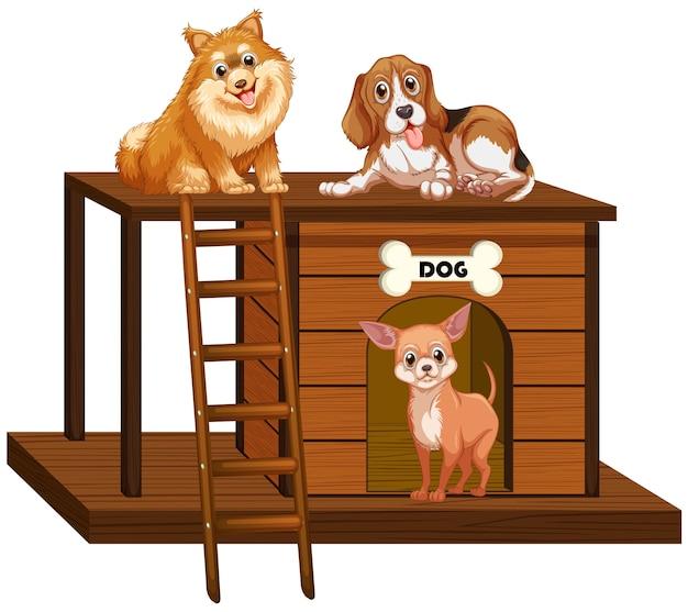 Casa de perro con perros lindos aislado vector gratuito