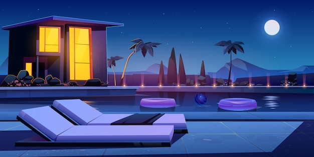 Casa y piscina en la noche. vector gratuito