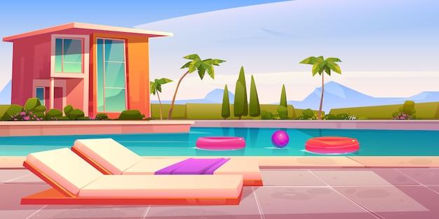 Casa y piscina con tumbonas. vector gratuito