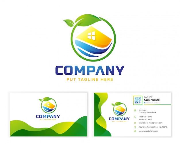 Casa verde con tarjeta de visita de papelería Vector Premium