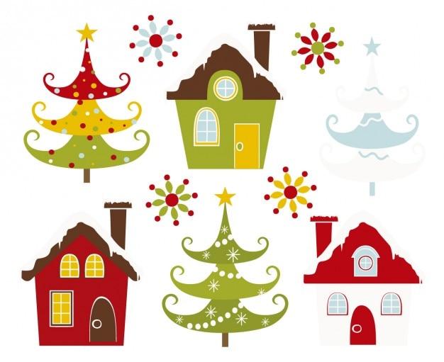 Casas Y Arboles De Navidad Nevados Descargar Vectores Gratis