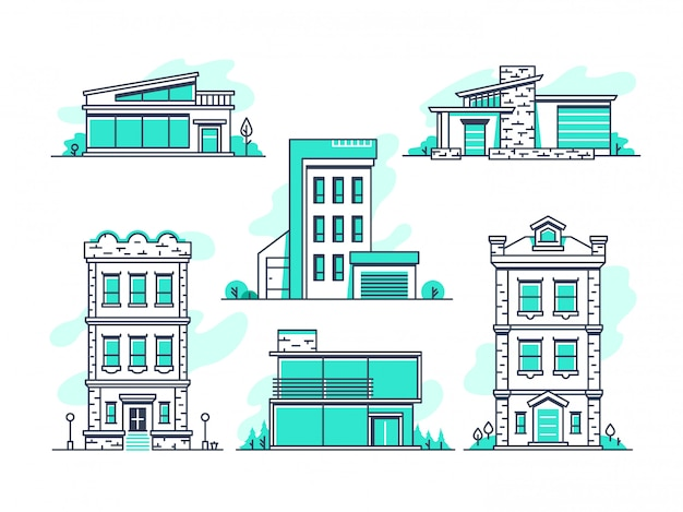 Casas y edificios propiedad alojamiento. esquema de la arquitectura moderna aislado Vector Premium