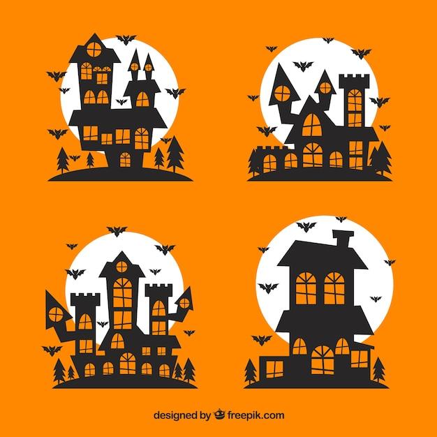 Casas encantadas de halloween descargar vectores gratis - Adornos de halloween para hacer en casa ...