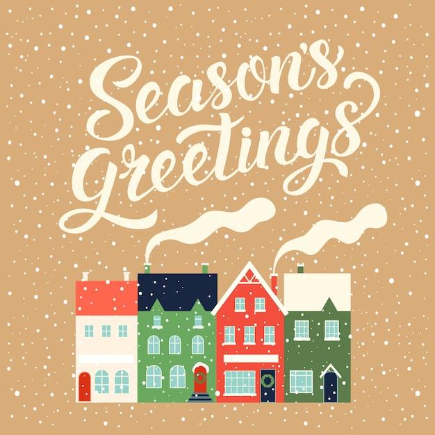 Casas de invierno para navidad. decoración de tarjetas de navidad. ilustración Vector Premium